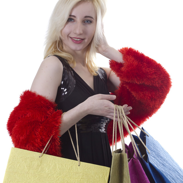 """Young woman shopaholic"" stock image"