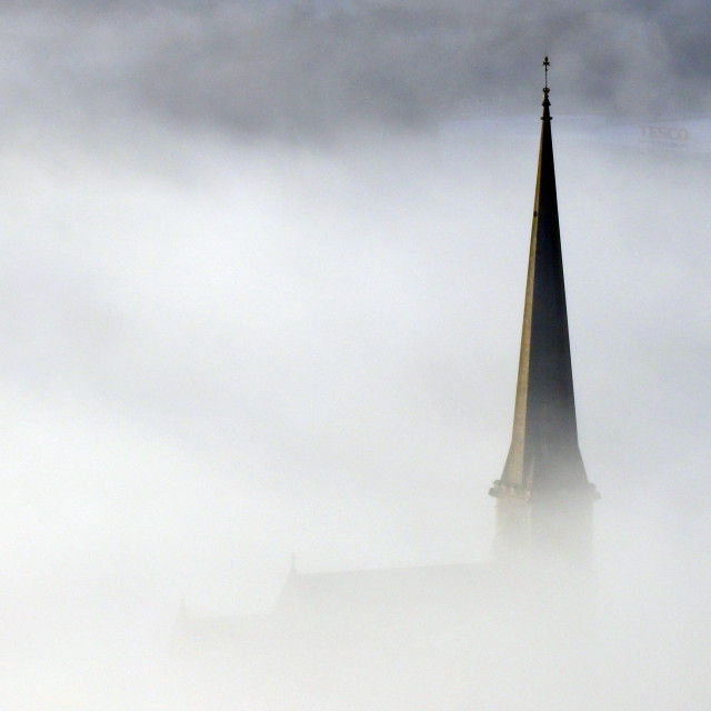 """St Peters spire, Pontardawe"" stock image"