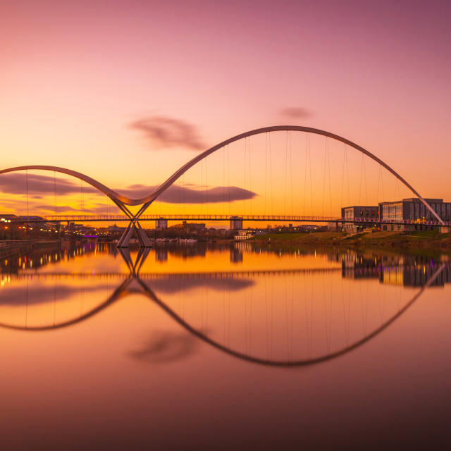 """Infinity Bridge, Stockton-on-Tees, Cleveland"" stock image"