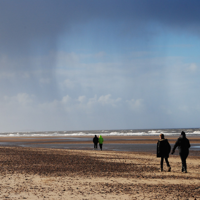 """Cloudburst. Wells Next The Sea beach, Norfolk, England."" stock image"