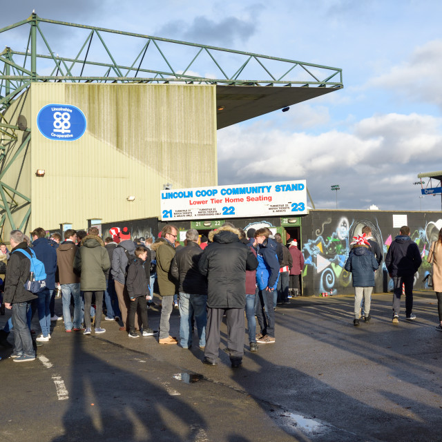 """Lincoln City vs Brighton @ Sincil BankUK."" stock image"