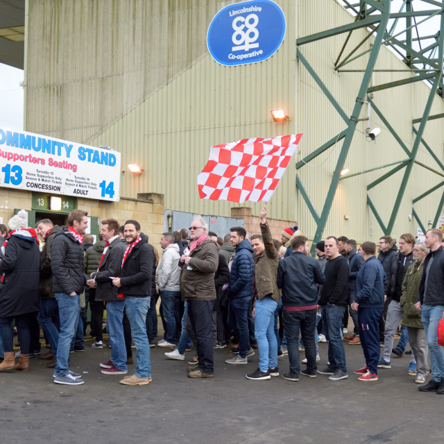 """Lincoln City vs Brighton at Sincil Bank,UK."" stock image"