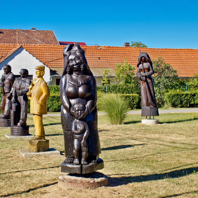 """""""Village of Hlebine wooden statues"""" stock image"""