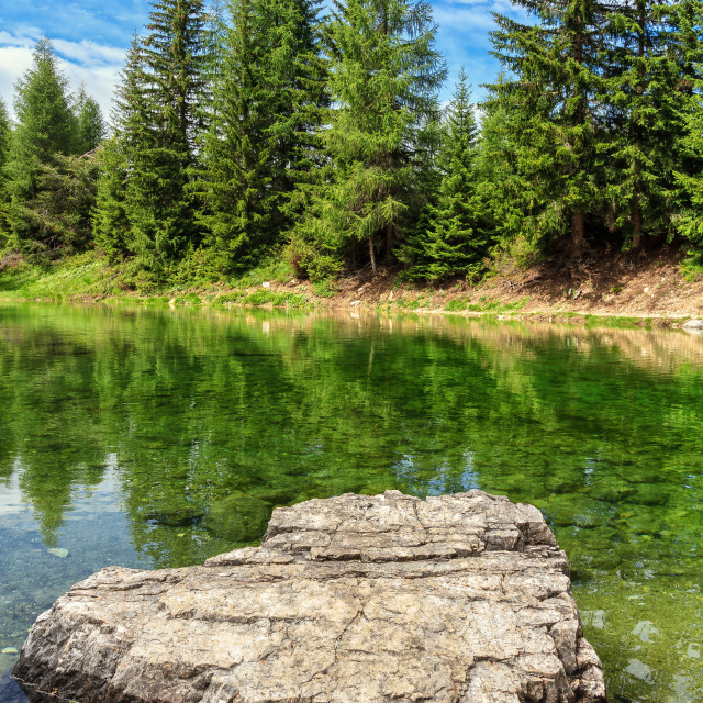 """small lake in Val Badia"" stock image"