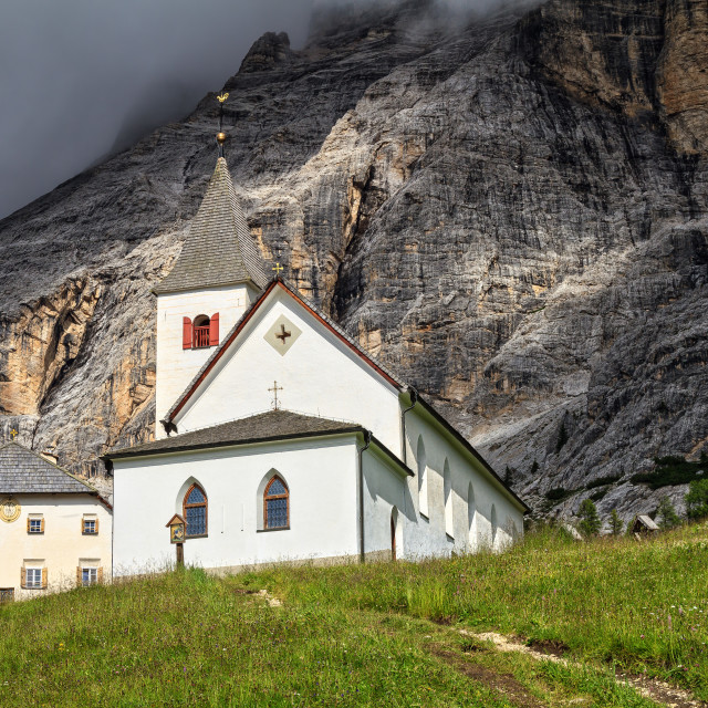 """Santa Croce church - Val Badia"" stock image"