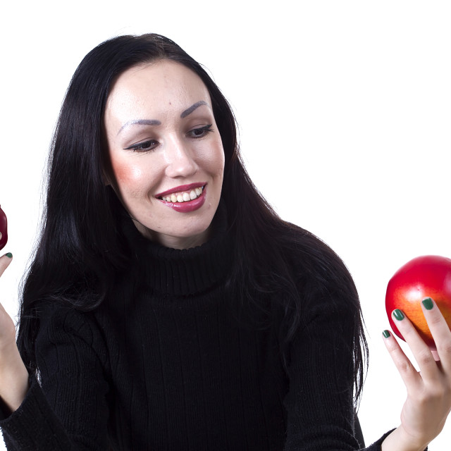 """Lovely woman hands an apple"" stock image"