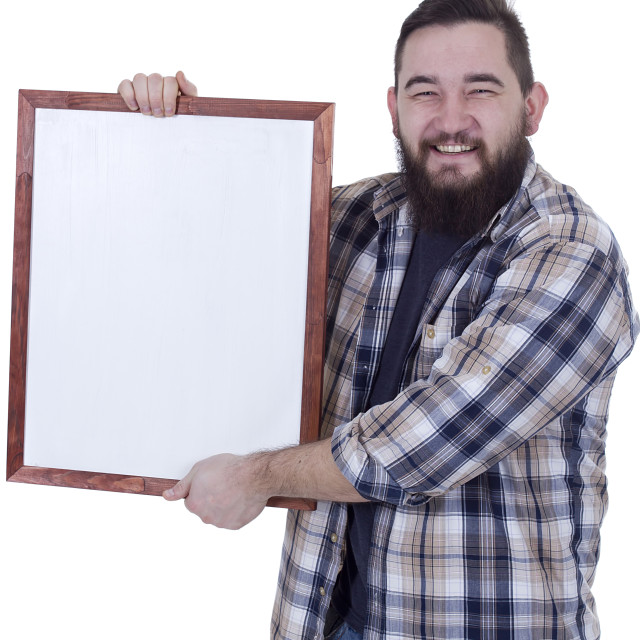 """""""Happy smiling bearded man in checkered shirt"""" stock image"""