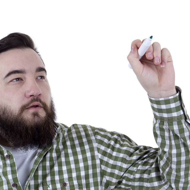 """""""Bearded man in a plaid shirt"""" stock image"""