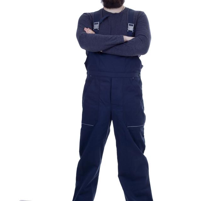 """Bearded man mechanic"" stock image"