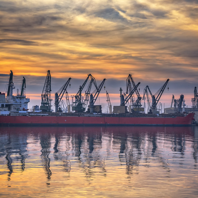 """port at sunset."" stock image"