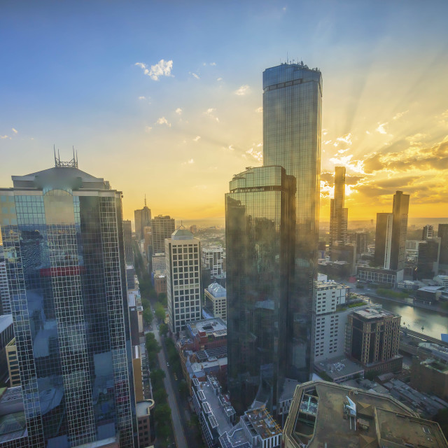 """""""Aerial view of Melbourne cityscape during sunrise"""" stock image"""