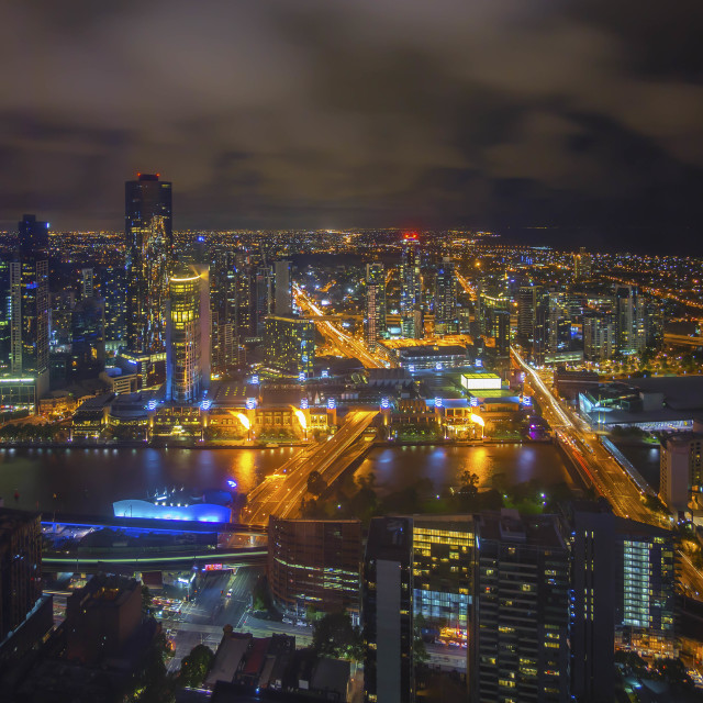 """""""Aerial view of Melbourne cityscape at night"""" stock image"""
