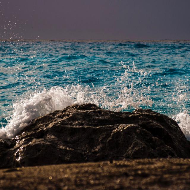 """""""sea and waves, Lefkada, ilragnaccio"""" stock image"""
