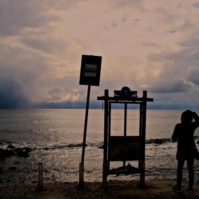 """""""Bus Stop on Poseidon, and, waves, Santorini, ilragnaccio"""" stock image"""