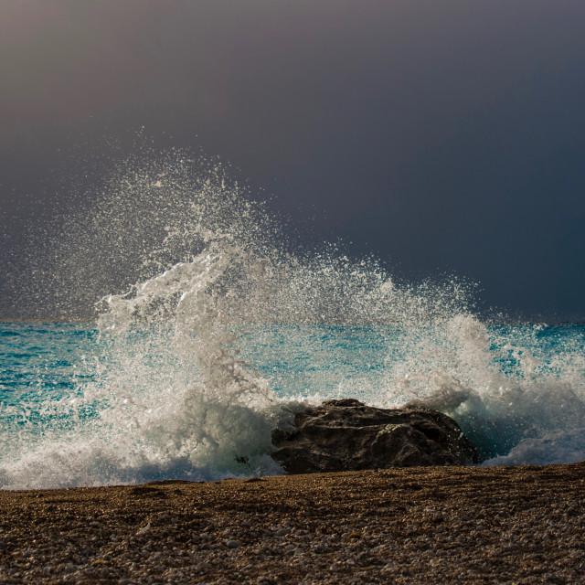 """""""sea, and, waves, Lefkada, ilragnaccio"""" stock image"""