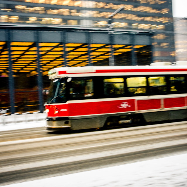 """Zooming streetcar"" stock image"