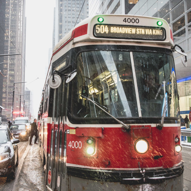 """TTC streetcar in the snow"" stock image"