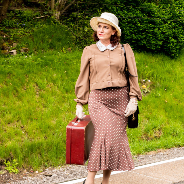 """""""Visitors participating in the war time 1940's weekend by dressing in various..."""" stock image"""