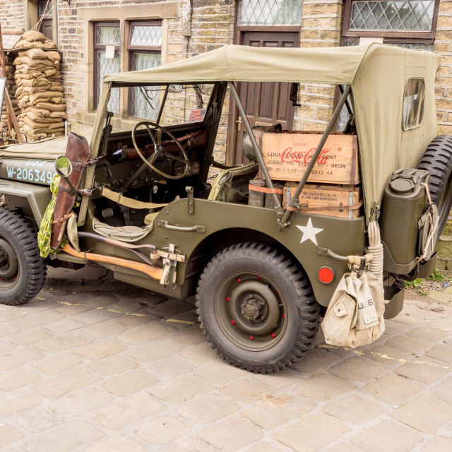 """""""Vehicles participating in the war time 1940's weekend at Howarth, North..."""" stock image"""