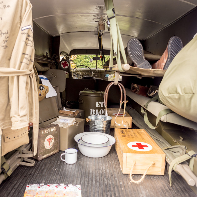 """""""1940's ambulance at the war time 1940's weekend, Howarth, North Yorkshire, UK"""" stock image"""
