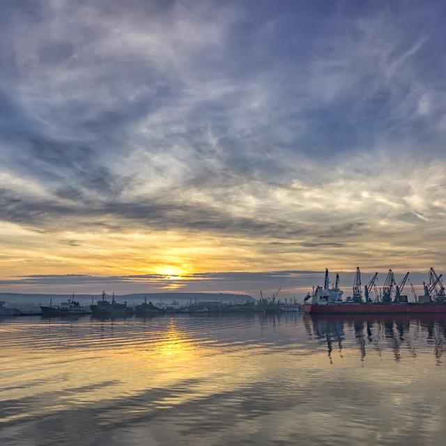 """port at sunset."" stock image"