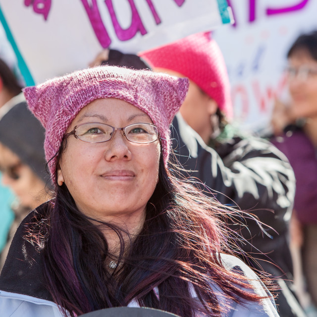 """""""Lady in Pink Hat at March in Tuscon, Arizona"""" stock image"""