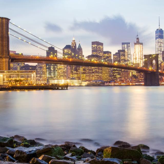"""Brooklyn Bridge and the Lower Manhattan"" stock image"