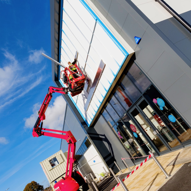 """Cherry Picker in construction."" stock image"