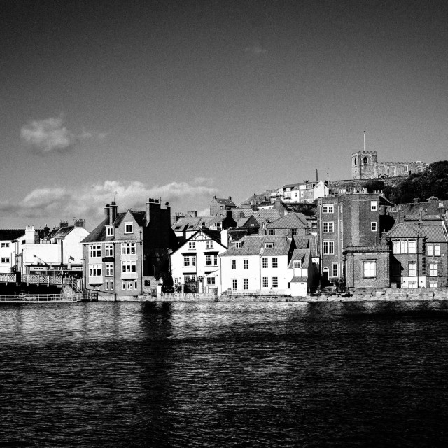 """Black and white Whitby"" stock image"