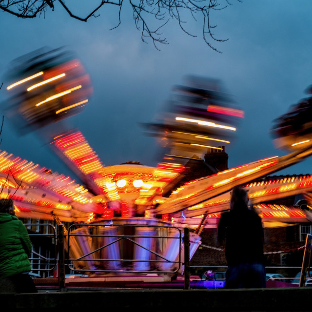 """Fairground ride at night"" stock image"