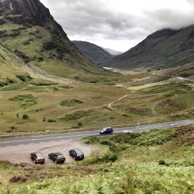 """The A82 road through Glencoe, Highlands of Scotland"" stock image"