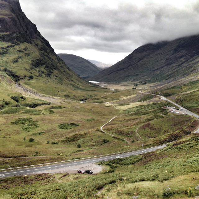 """A82 road through Glencoe, Highlands of Scotland"" stock image"