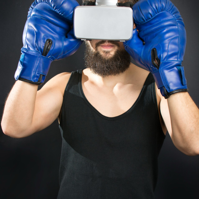 """""""Boxer with VR glasses and blue gloves"""" stock image"""