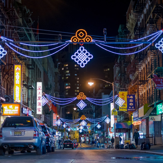 """NYC China Town by night"" stock image"