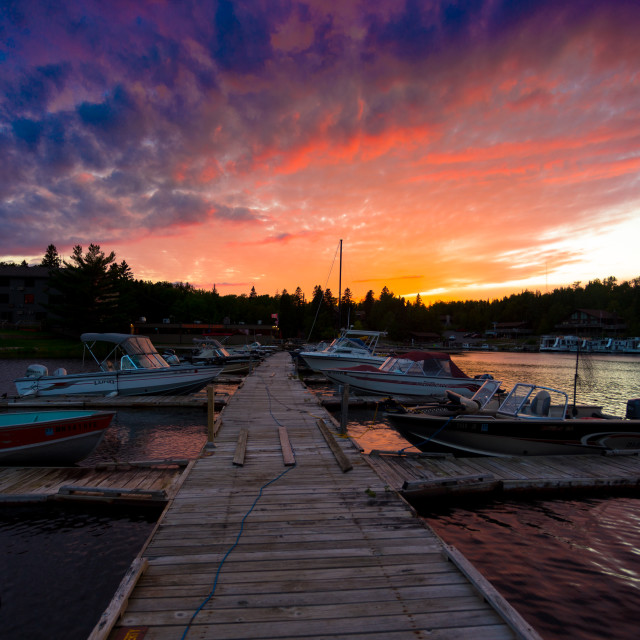 """Sunset over Rainy Lake"" stock image"