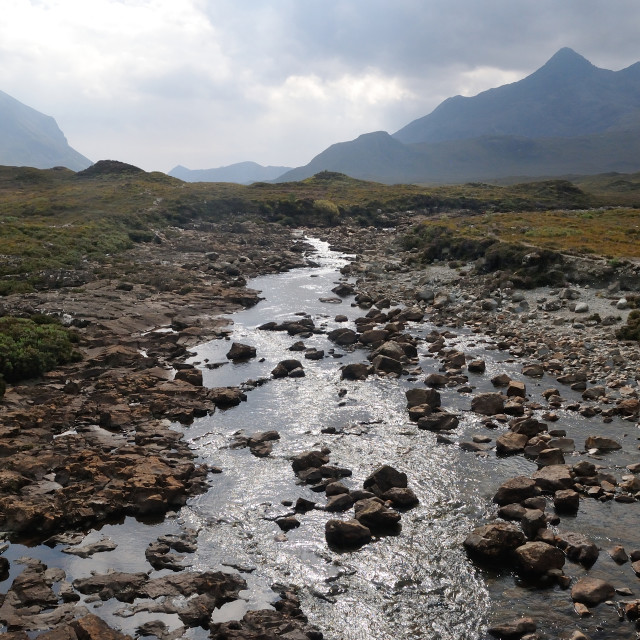 """The River Sligachan with the red and black Cuillins , Isle of Skye"" stock image"