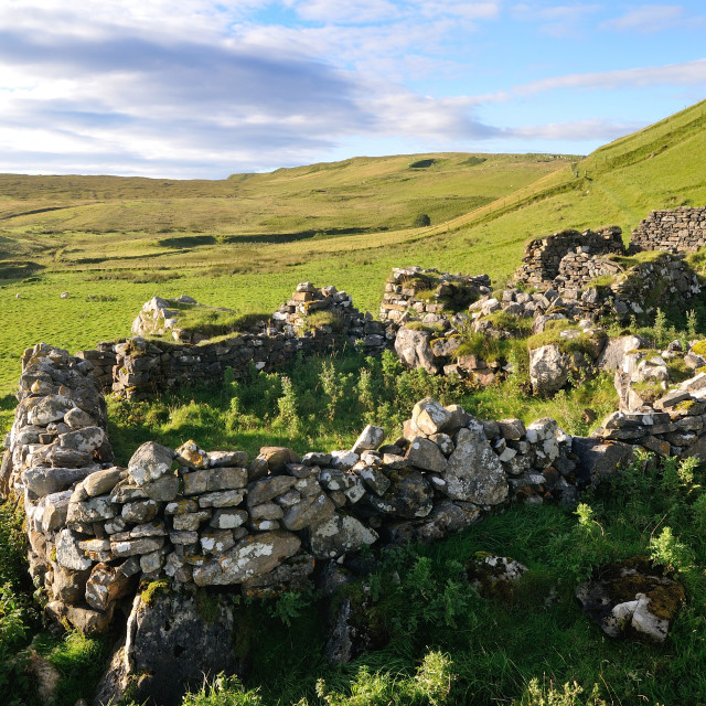 """Ruins of a croft, Isle of Skye"" stock image"