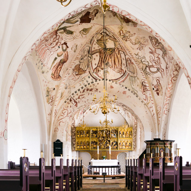 """""""A white lutheran church with famous frescos"""" stock image"""
