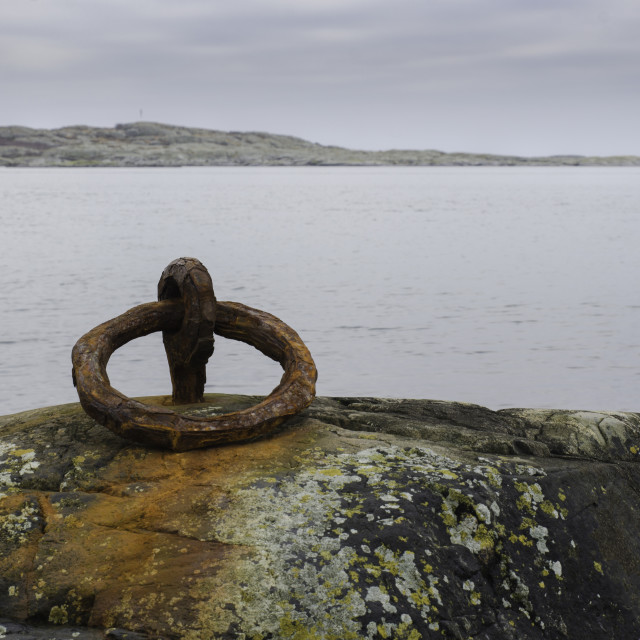 """one rusty mooring loop for boat"" stock image"