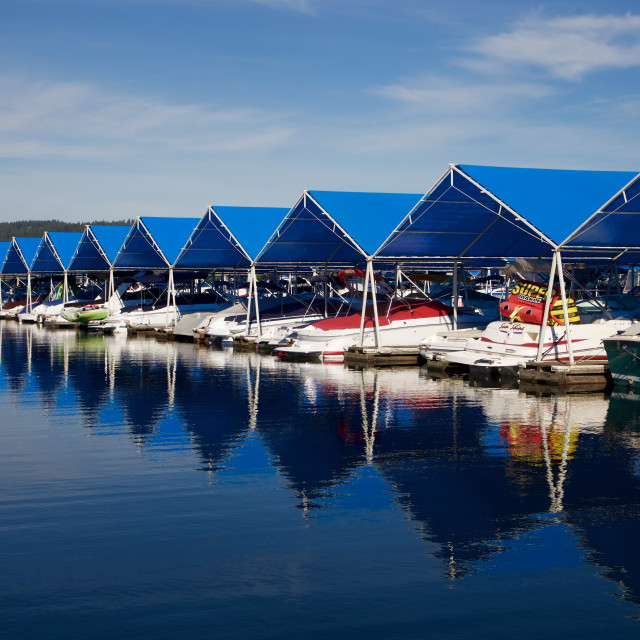 """Powerboats at a marina"" stock image"