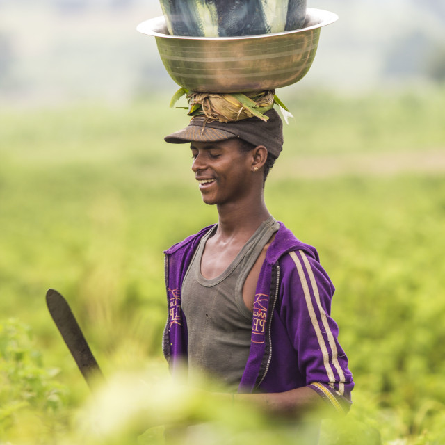 """A fulani Boy with a bounty harvest"" stock image"