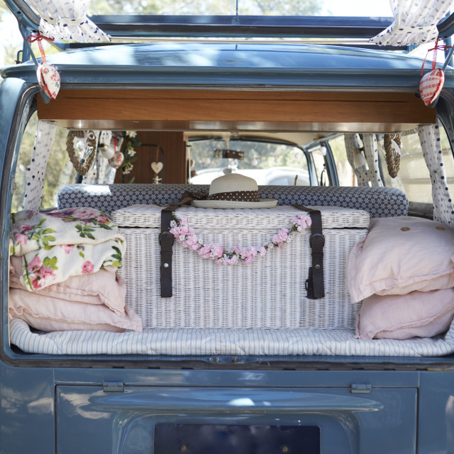"""""""Open back of a retro camper van, with luggage, vertical"""" stock image"""
