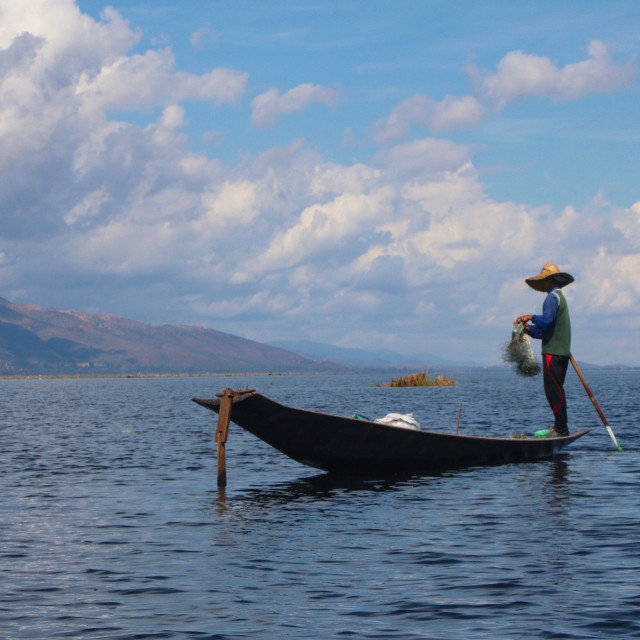 """Fisherman on Inle Lake"" stock image"