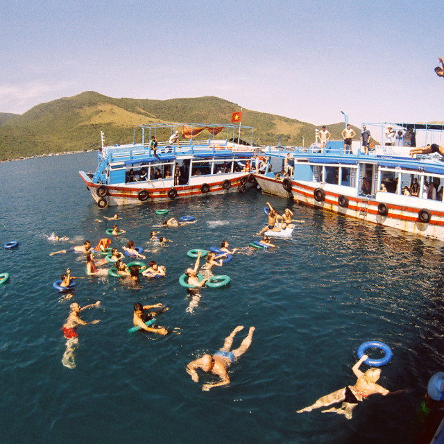"""Floating Bar (In 4 islands tour program)"" stock image"
