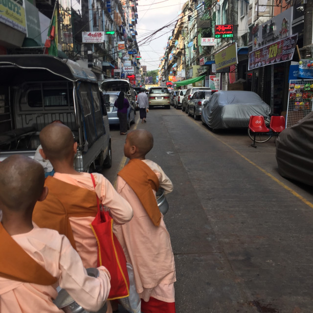 """Monks in Yangon"" stock image"