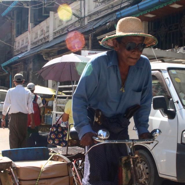 """Yangon Cyclist"" stock image"
