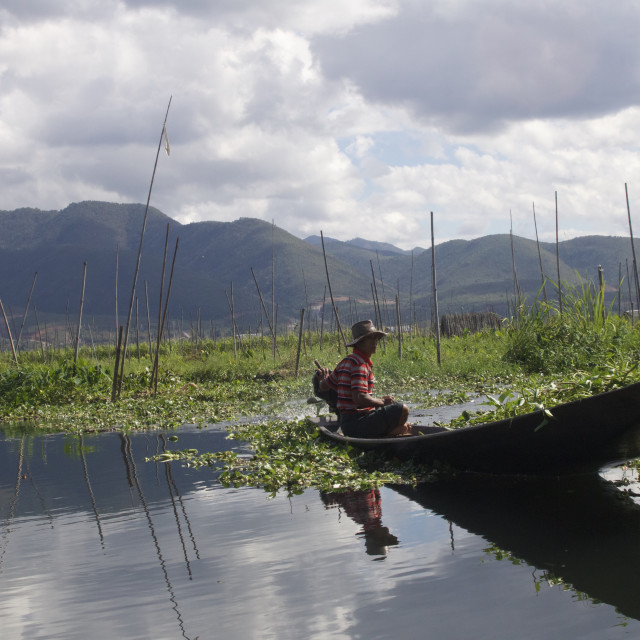 """Fishermann on Inle Lake"" stock image"