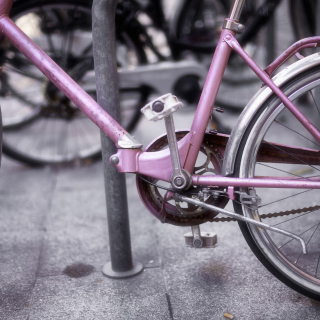 """Pink Bicycle"" stock image"