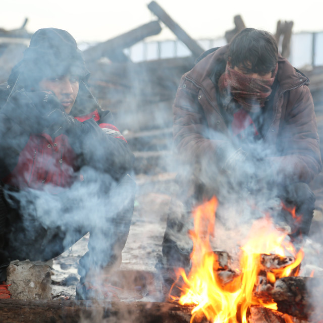 """""""Refugees during the winter in Serbia"""" stock image"""