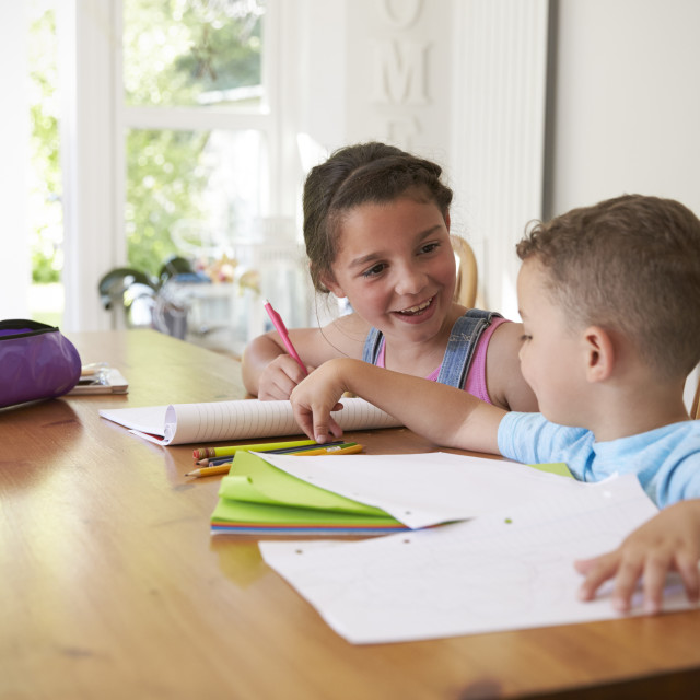 """Brother And Sister Doing Homework At Table"" stock image"